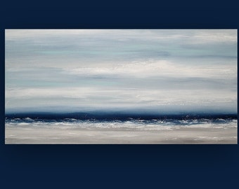 Art, Large Painting, Original Abstract, Acrylic Paintings on Canvas by Ora Birenbaum Titled: Navy Mist 3 24x48x1.5""