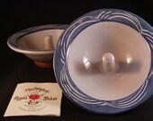 2 Original Apple Baker Stoneware Bake/Serve Dishes Blue Rim Micro Oven Recipes Christian Pottery