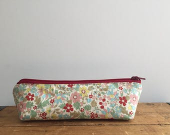 Cute Floral Triangle Pencil Case, Red Zipper Pouch, Back to School, Kawaii Cosmetic pouch, Japanese Floral Pencil Pouch, School Supply