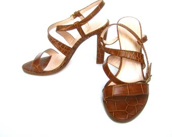 KATE SPADE Embossed Brown Leather Ankle Strap Sandals US Size 7 B