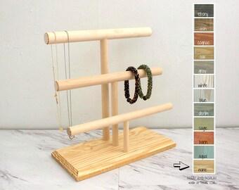 Wood Jewelry Display, Bracelet Display 3-Tier, Necklace Display, Bracelet Stand, Bracelet Organizer, Craft Market Booth Displays