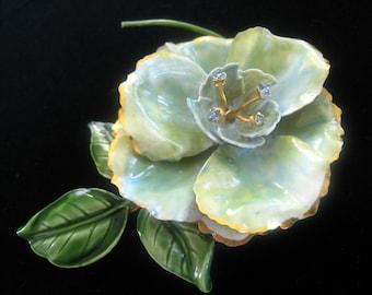ORIGINAL by ROBERT Huge Richly Enameled Flower Brooch. Leaves, Stem, and Blue Gem Stamen Ends. Soft Blue & Green Petals with Gold Edges.