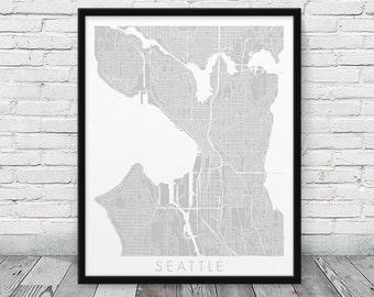Seattle Urban Map Poster. Seattle City Street Map Print. Grey Seattle Washington Map Print. Minimalist Poster Print Home Art. Printable Art