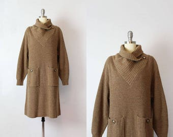 vintage 80s sweater dress / 1980s brown wool sweater dress / cowl neck slouchy knit dress / minimalist sweater dress / Cafe Noisette dress
