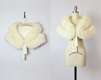 vintage 50s white fur stole / 1950s white fox fur stole / bridal fur stole / winter wedding wrap / sequined velvet fur stole / luxe fur wrap