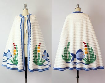 vintage 40s chenille beach cape / 1940s beach wear / novelty beach wear / aquatic nautical fish cape / cotton chenille cape / swim cover up