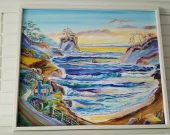 Little Blue House on The Beach, Ocean Oil Painting, Blue Beach House, Cabin on The Beach, Blue Ocean Waves, Dan Leasure Oils
