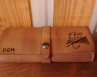 Unique Fly Fishing Leather Wallet Personalized  with Pyrography and Initials-hand made - pyrography leather - fishermen gift