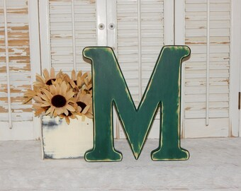 Wooden Letter M Distressed Wood letters Made To order Photo Props
