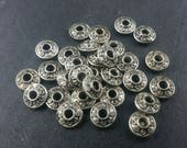 DESTASH 30 Silver spacer beads 7mm x 3mm