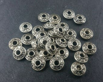 DESTASH 30 Silver spacer beads 7mm x 3mm