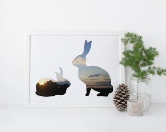 Rabbit Printable: Digital Download, Sunset, Spring Print, Digital Download Print, Bunnies, Photograph. Sunset Bunnies