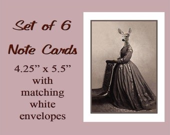 Deer Note Cards, Card Set of 6, Whimsical Cards, Vintage Cards, Anthropomorphic, Blank Cards, Animal Cards, Unique Card Set