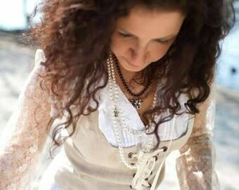 MADE TO ORDER: linen bridal Avalon bustle bustier,steampunk,historical priestess woodland fairy witch