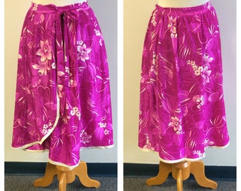 Vintage Clothing, 1960s Vintage Fushia Wrap Skirt, Hot Pink Floral Stretch Lycra Skirt, Hawaiian Print Skirt, 100% Polyester, Ladies Large
