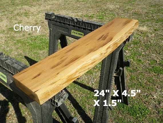Live edge finished cherry wood slab diy floating shelf for Finished wood slabs