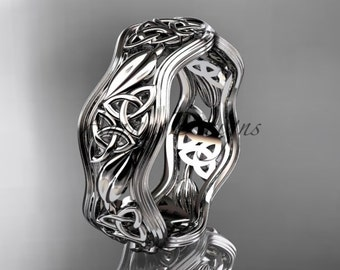 14kt white gold celtic trinity knot wedding band, engagement ring CT7510G