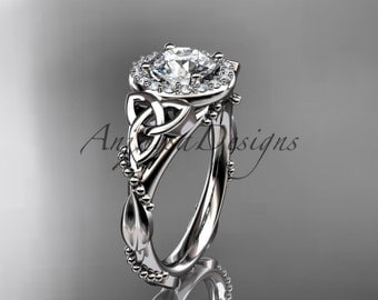 """Platinum diamond celtic trinity knot wedding ring, engagement ring with a """"Forever One"""" Moissanite center stone CT7328"""