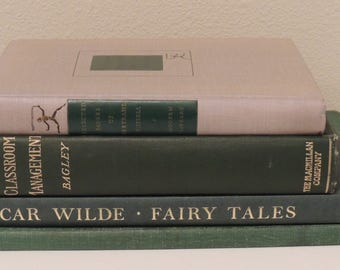 Vintage Book Stack FOUR (4) GREEN Hardcovers Midcentury Staging Instant Collection Props Party Decor