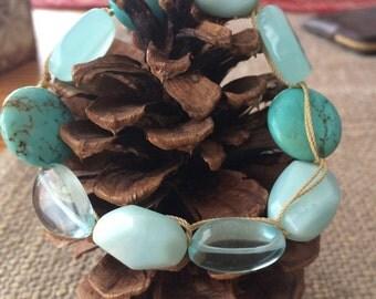 Polished turquoise and sea glass bracelet