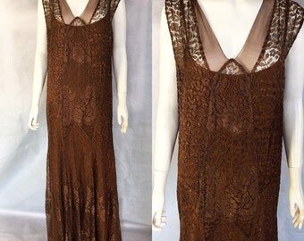 SALE 1920s chestnut lace evening gown