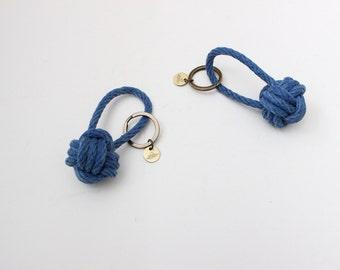 Rope Knot Keychain / indigo