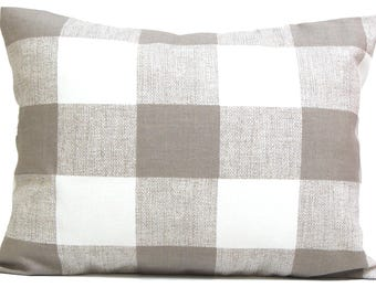 Buffalo Check Pillow Sale,12x16 or 12x18 inch.Pillow Covers.Decorative Pillows.Housewares.Buffalo Plaid. Neutral.Cushion.Pillow.Taupe Check
