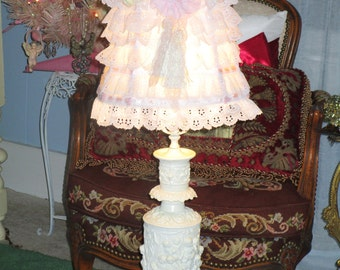 Re purposed Vintage Cast Metal Chippy Cherub Lamp WITH OOAK handmade shabby chic shade, Shabby Chic, Victorian, French, French Country