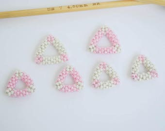 Bead Woven Triangle Stitch Markers Set Pink and Off White Beaded Beads Knitting Jewelry Knitting Notions Gift Ideas
