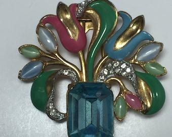 Vintage Enamel Flowers and Glass Vase Dress Clip  1930s   Item: 17426
