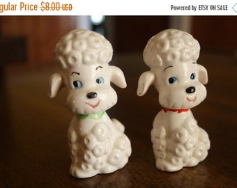 ON SALE 1950's Pom Pom Poodles / Vintage French Poodle Salt and Pepper Shakers / Mid Century Collectibles / Kitch Kitchen Decor