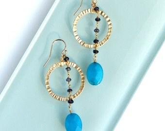 Indigo and Blue Drop Earrings - Blue Jade, Iolite, Textured Gold Link, Hoop