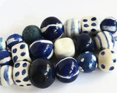 RESERVED for Mar, African beads, handmade ceramic beads from South Africa, 21 handmade ceramic beads, blue and white ceramic beads