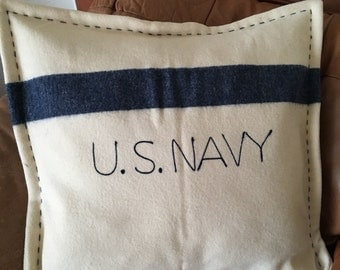 U.S. NAVY  Vintage Wool Blanket Throw Pillow
