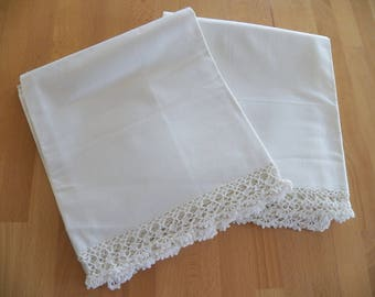 Lovely UNUSED Vintage Penney's Ivory Cotton Pillowcases with Elaborate Crocheted Edges