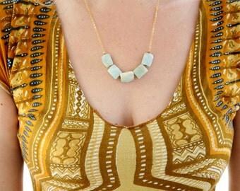 Light blue Larimar gem stone necklace ~ Tribal Necklace ~short stones necklace ~ Larimar ~ gift for her ~ delicate necklace ~ Gold Plated