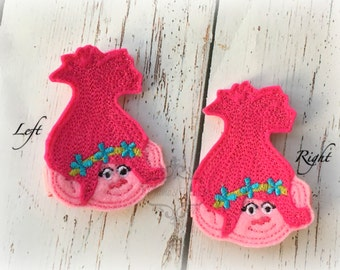 Troll Hair clip poppy hair clippie bow Pick one or two. Pick Left side or Right.