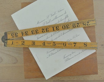 Vintage Wooden Folding Ruler | Double Sided in Inches 36'' | Kidpark Made in Holland | Boxwood Rule