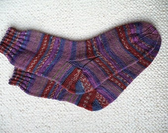 Hand knitted woman, man  socks, UK 8-10 US 10-12