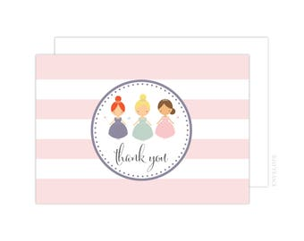 Princess Thank You Cards (Princess Folded Note Card, Baby Shower Thank You, Princess Thank You Card)