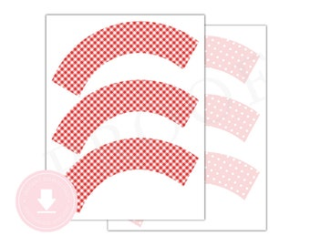 INSTANT DOWNLOAD Pink and Red Cupcake Wrappers (Strawberry Birthday, Printable Cupcake Wrappers, Strawberry Shower, Berry Party)