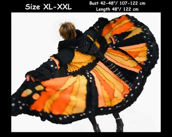 elf coat, elf sweater, sweater coat, gypsy dress, fairy dress, boho dress, patchwork coat, MONARCH, wearable art, size XL - XXL