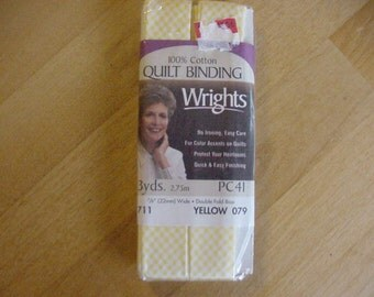 """1 Package Wright's Quilt Binding, Double Fold Bias, Yellow Gingham, 3 Yards, Sewing, NIP, 7/8"""" Wide, Embellishments, Trims, Quilting"""
