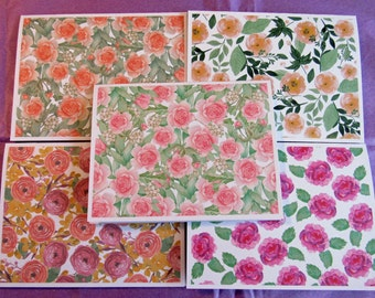 Floral Watercolor Handmade Note Cards Thank You Cards Set of 5 with Envelopes