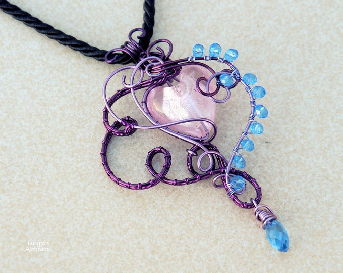Pink heart  Wire wrapped pendant