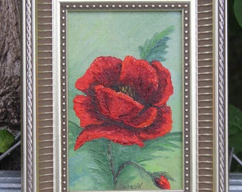 Floral Still Life Oil Painting on Board Framed Flowers Poppy Poppies Artist Signed Evelyn