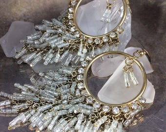 Vintage Hoop Earrings Big Hoop Earrings Beaded Hoop Earrings Boho Earrings Large Gold Hoop Earrings Rhinestone Earrings Statement Earrings