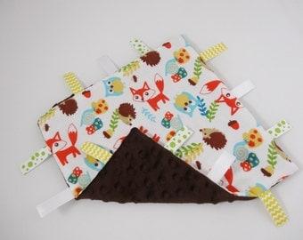 Woodland Friends Fox Hedgehog Owl Ribbon Blanket Baby Gift Neutral