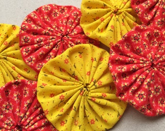 2 inch bright yellow and red calico print fabric yoyo embellisments--mixed lot of 8