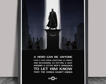 Batman Poster.Superheroes Minimalist .Batman Superhero print,Hero Typography Print,Wall art,Artwork,DC comics poster,Hero Quote,Gift for him